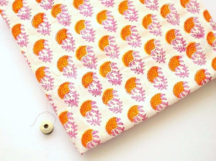 Orange Pink floral cotton fabric dress material