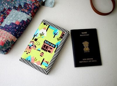 Cowboy Passport Cover for kids, Green Passport Case, Passport Holder, Passport Wallet, Travel Gift, solo travel,