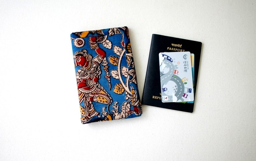 Kalamkari Passport Sleeve, Passport Case, Passport Holder, Passport Wallet, Travel Gift, solo traveler gift, gift for dancer