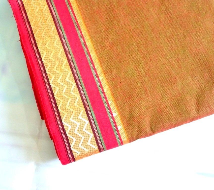 Brown  hand woven cotton - shot cotton fabric, brown handloom