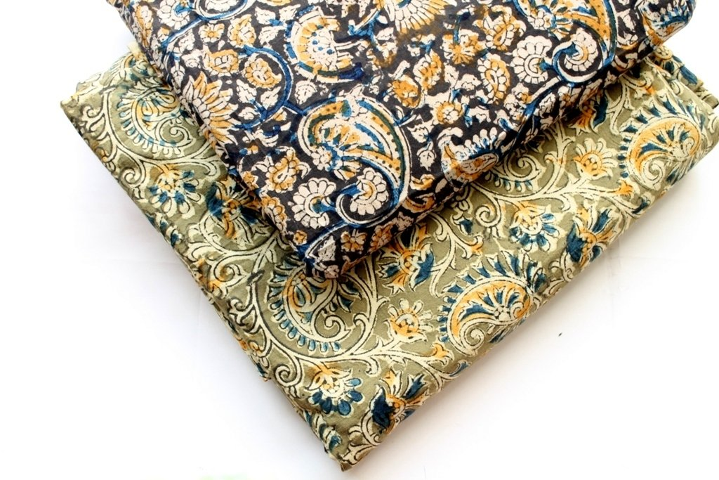 Paisley Fabric, Kalamkari block print, Kalamkari fabric, hand print cotton, Indian Fabric, Indian Mud cloth, Mudcloth Cotton