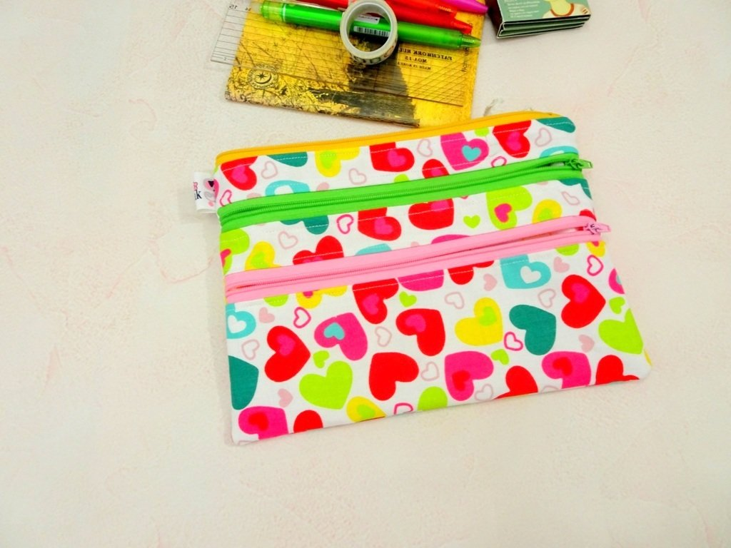 Pink multi zipper pouch, pink hearts pencil case, gift for girls
