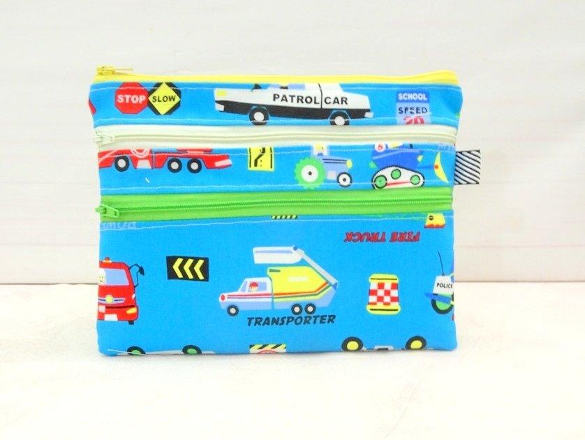 Blue multi zipper Pouch, car transport theme pencil case, school supplies