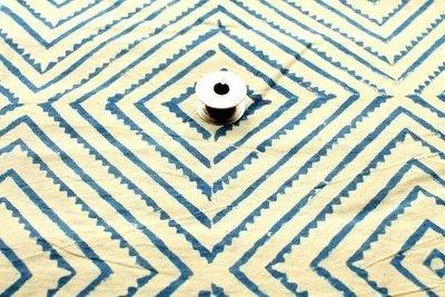 geometric block print Indigo