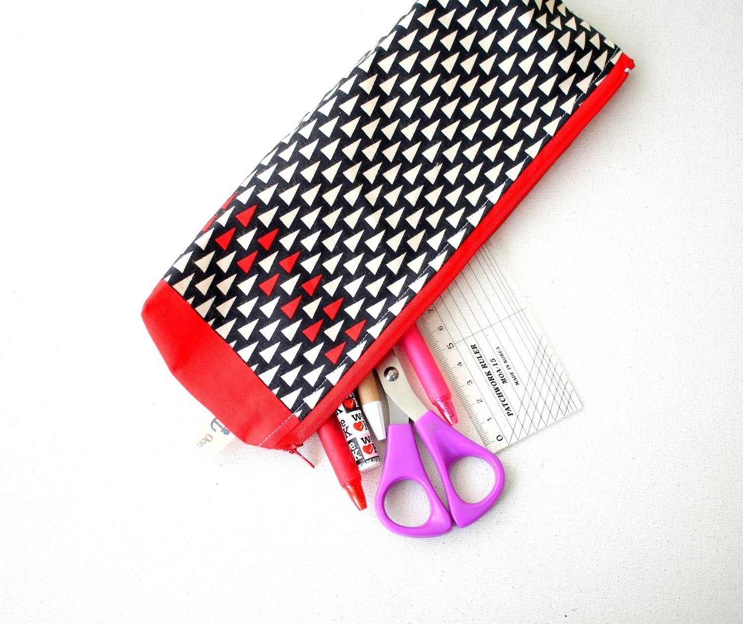 Handmade Red and Black  Zipper Pouch - One of a kind - Medium Size