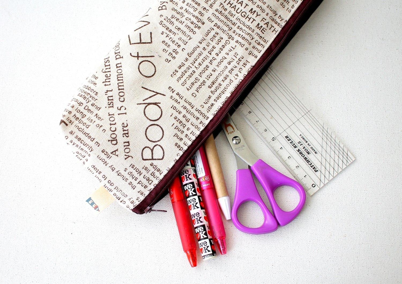 Handmade Newsprint  Zipper Pouch - One of a kind - Medium Size