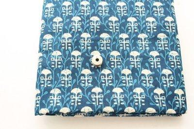 Indigo Blue Block Print cotton fabric with border