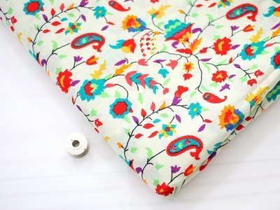Paisley Flower Print Cotton Fabric