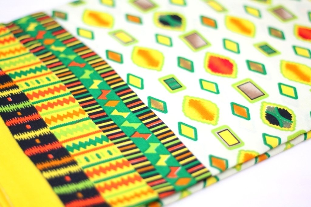 Yellow Geometric Print Glace Cotton with Border