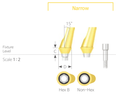 Bont Angulat Cimentabil Narrow Non-HEX [Cemented Angled Abutment Non-HEX]