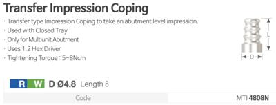 Transfer Impression Coping [Trasnfer lingura inchisa Multiunit]