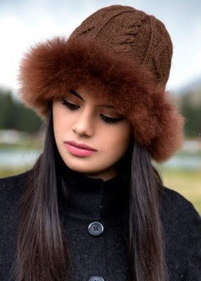 Alpaca Fur Trimmed Hat, Gray