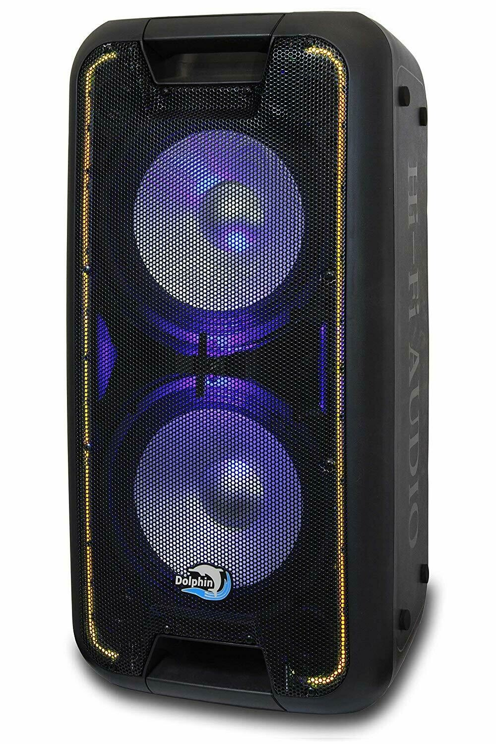 """Dolphin SP-210RBT Rechargeable Dual 10"""" Party Speaker with Lights"""