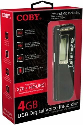 Coby CVR-20 USB Digital Voice Recorder with Built-in Mic, Voice Recorder