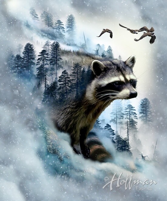 Raccoon - Hoffman Fabrics Digital PANEL