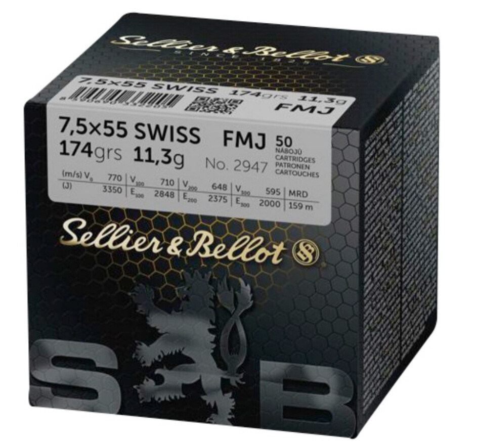 SELLIER & BELLOT cal.7.5x55 Swiss FMJ Box of 50 Rounds