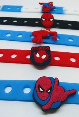 10 Braccialetti personalizzati Spiderman in 3D gomma silicone pvc morbido gadgets fine festa a tema compleanno bambini