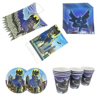set tavola Batman piatti bicchieri tovaglioli Tovaglia Festone bandierine addobbi decorazioni festa compleanno
