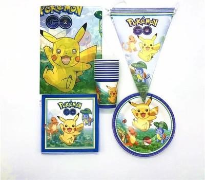 set tavola Pokemon Go piatti bicchieri tovaglioli Tovaglia Festone bandierine addobbi decorazioni festa compleanno