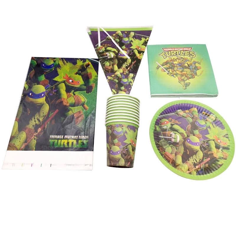 set tavola Tartaruga Ninja piatti bicchieri tovaglioli Tovaglia Festone bandierine addobbi decorazioni festa compleanno
