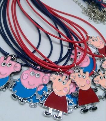 10 Collane Peppa e George Pig Pendente medaglia in acciaio