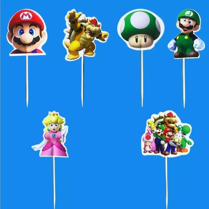 24 bandierine Super Mario Bros decorazioni torte topper Plum cake statuine Tortini
