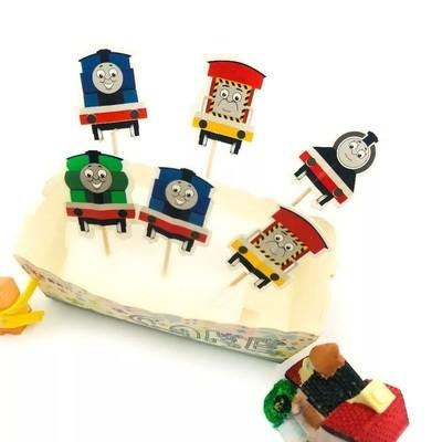 24 bandierine Trenino Thomas decorazioni torte topper Plum cake statuine Tortini