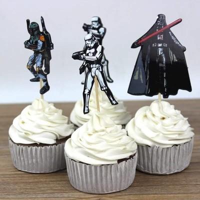 24 bandierine Star Wars decorazioni torte topper Plum cake statuine Tortini