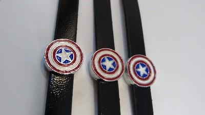 10 Braccialetti Capitan America slide glitter charms