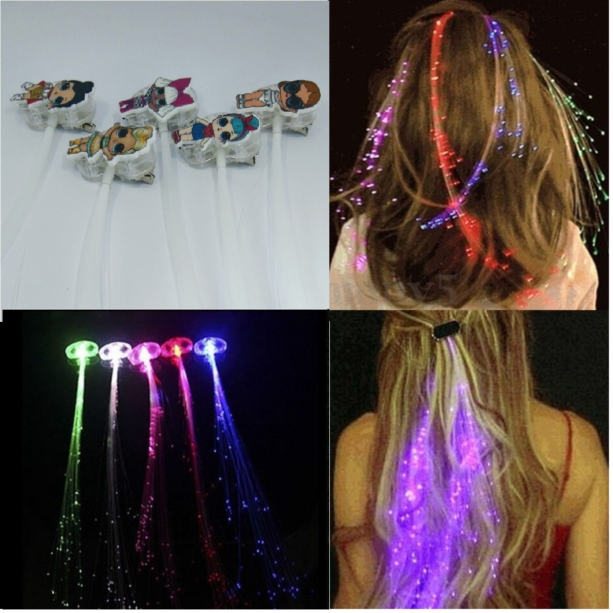 Extension Colorate Per Bambini 10 clip hair extension lol surprise luce a led gioco luminoso capelli  gadgets fine festa compleanno bambine