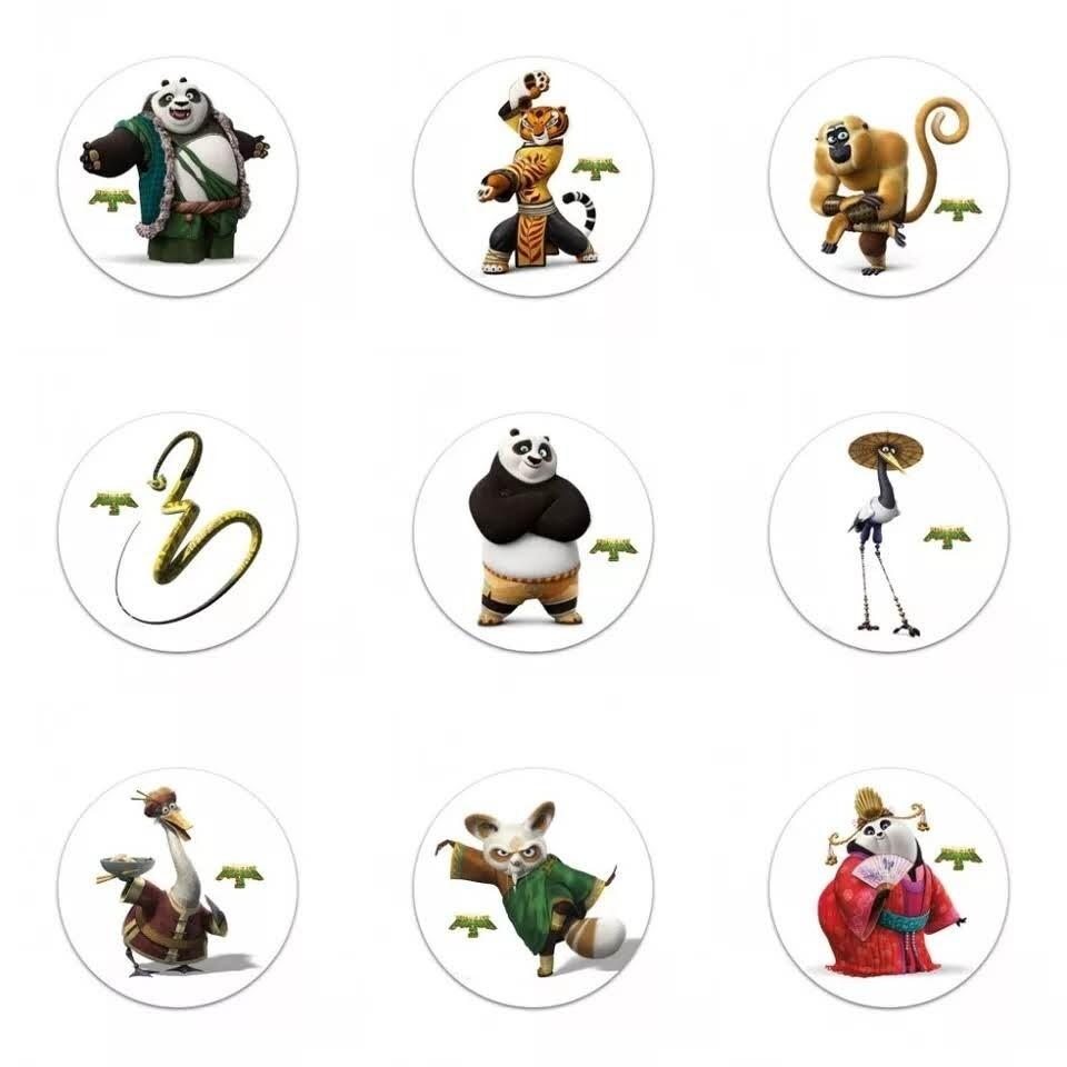 10 Spille 3cm zaino scuola personalizzate Kung Fu Panda