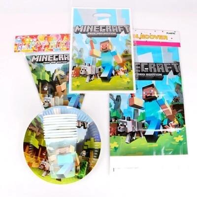 set tavola Minecraft piatti bicchieri tovaglioli Tovaglia Festone bandierine addobbi decorazioni festa compleanno