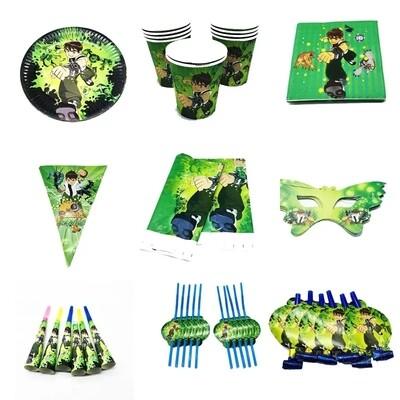 set tavola Ben10 piatti bicchieri tovaglioli Tovaglia Festone bandierine addobbi decorazioni festa compleanno
