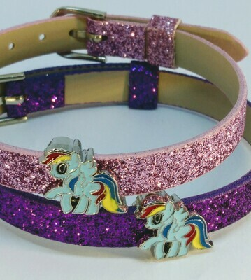 10 Braccialetti My Little Pony slide glitter charms