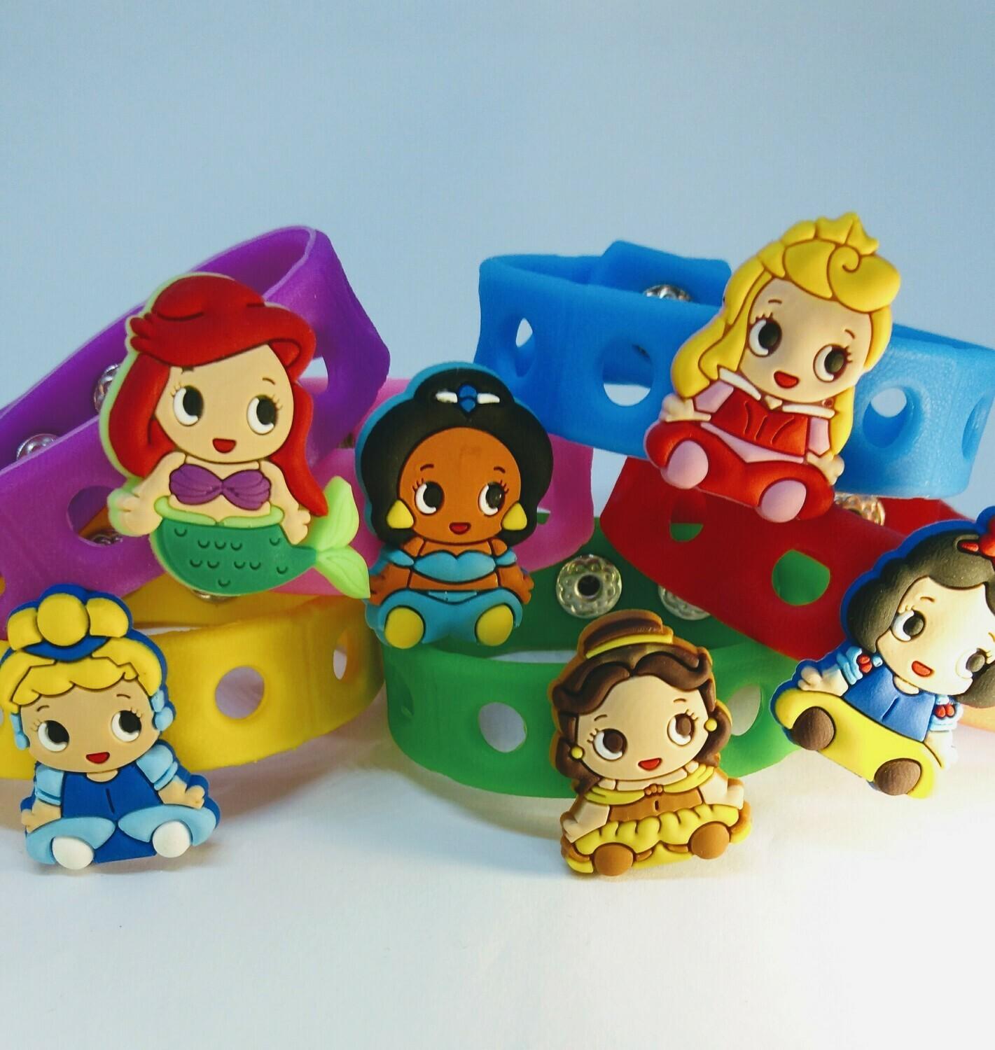 10 Braccialetti personalizzati Princess le principesse Disney 3D gomma silicone pvc morbido gadgets fine festa a tema compleanno bambini