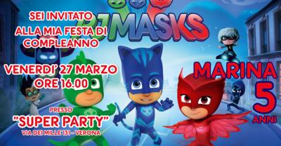 Inviti digitali personalizzati Pj Masks per feste di compleanno da mandare via Whatsapp