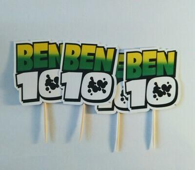 20 bandierine Ben 10 Ten decorazioni torte topper Plum cake statuine Tortini