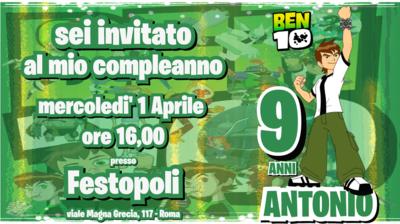 10 Biglietti inviti personalizzati festa compleanno bambini a tema Ben10