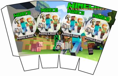 File digitale Scatolina Pop Corn Minecraft box contenitore personalizzabile addobbi festa a tema fai da te