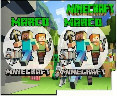 File Digitale Porta Tovaglioli e Posate personalizzati Minecraft addobbi feste di compleanno