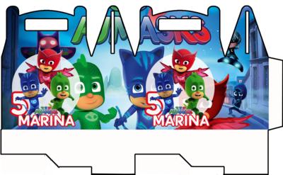 File digitale Scatoline Pj Masks super pigiamini personalizzabili Regalo porta Gadgets confetti Caramelle bomboniere