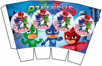 File digitale Scatolina Pop Corn Pj Masks super pigiamini box contenitore personalizzabile addobbi festa a tema fai da te
