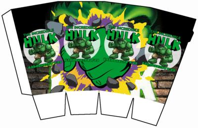 File digitale Scatolina Pop Corn HULK box contenitore personalizzabile addobbi festa a tema fai da te
