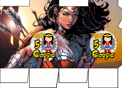 File digitale Scatolina Latte wonder woman box contenitore personalizzabile addobbi festa a tema fai da te