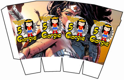 File digitale Scatolina Pop Corn wonder woman box contenitore personalizzabile addobbi festa a tema fai da te