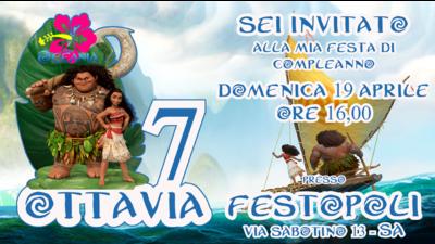 Biglietto invito digitale personalizzati Oceania festa compleanno bambini a tema
