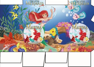 File digitale Scatolina Latte Ariel Sirenetta box contenitore personalizzabile addobbi festa a tema fai da te
