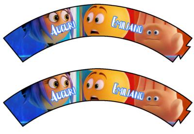 File digitale Wrapper Cupcake Emoji Emoticons personalizzabile addobbi festa a tema fai da te