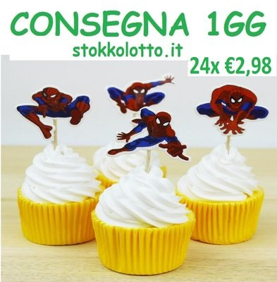 24 decorazioni Spiderman torte topper cake