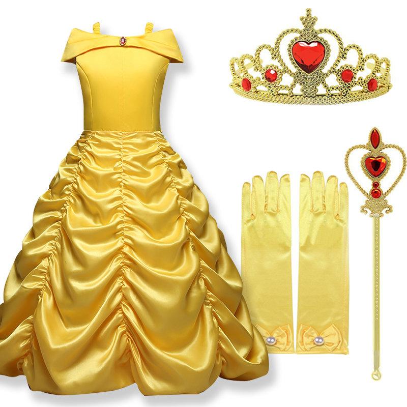 costume Principessa Belle de La Bella e la Bestia Disney vestito maschera carnevale travestimento bambina